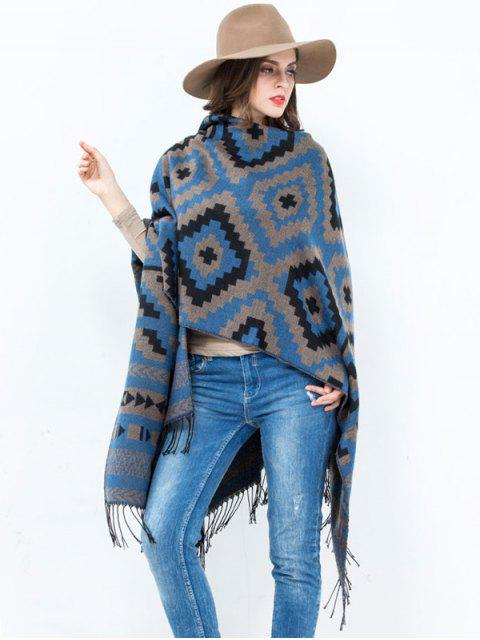 unique Open Front Plaid Wave Design Tassel Pashmina - BLUE  Mobile