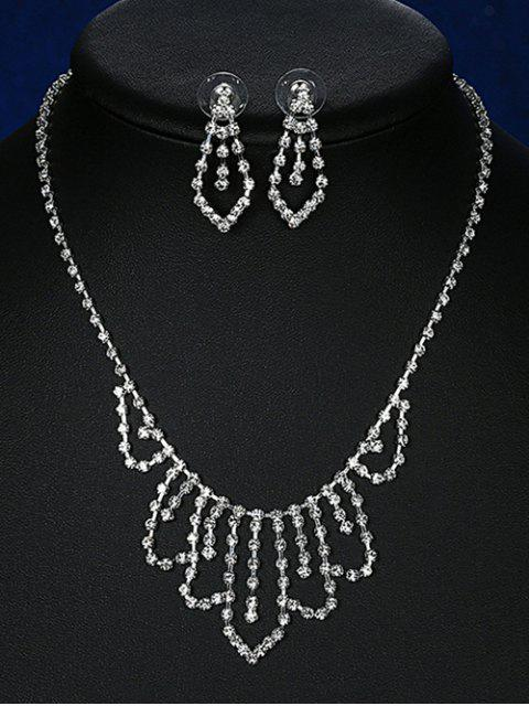 new Geometric Adorn Rhinestoned Bridal Jewelry Set -   Mobile