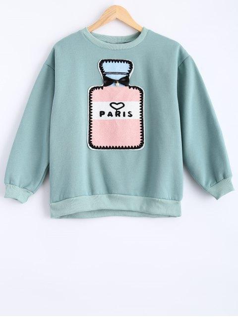 chic Round Neck Patch Design Sweatshirt - MINT GREEN S Mobile