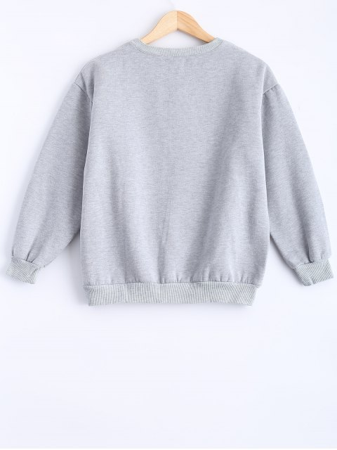 latest Round Neck Patch Design Sweatshirt - GRAY M Mobile