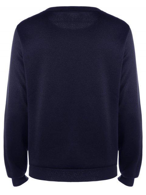 fancy Long Sleeve Patch Design Sweatshirt - DEEP BLUE M Mobile