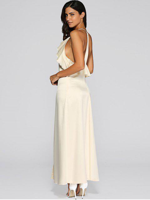 shop Open Back Slit Evening Dress - GOLDEN L Mobile