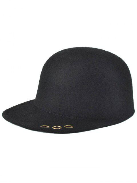 outfit Hollow Metal Ring Wool Fodora Hat - BLACK  Mobile