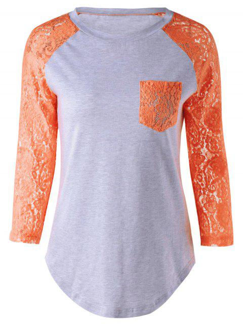 affordable Lace Sleeve Round Neck T-Shirt - ORANGE 4XL Mobile