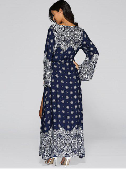 shop Bell Sleeve High Slit Maxi Boho Wrap Dress -   Mobile