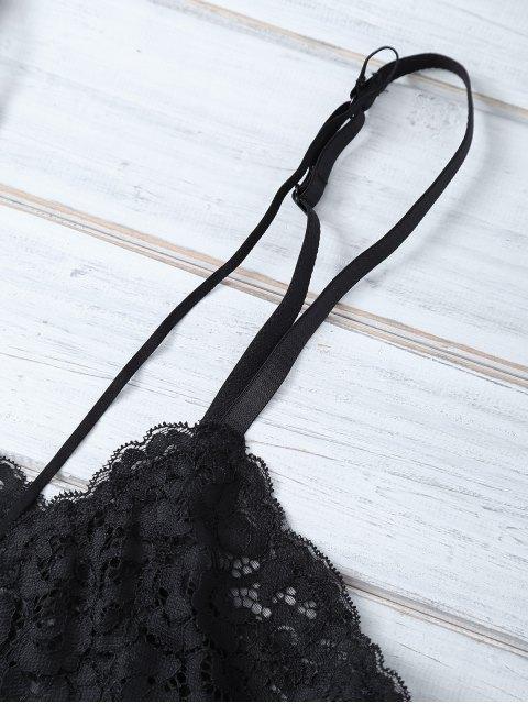 fancy Strappy Lace Bra - BLACK M Mobile