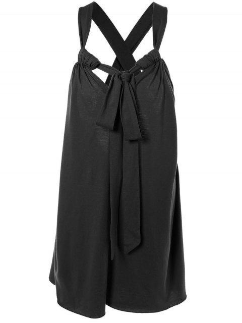 latest Halter Cross Back Cami Shift Dress - BLACK L Mobile