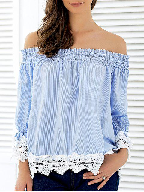 ladies Off The Shoulder Striped Lace Panel Blouse - STRIPE M Mobile