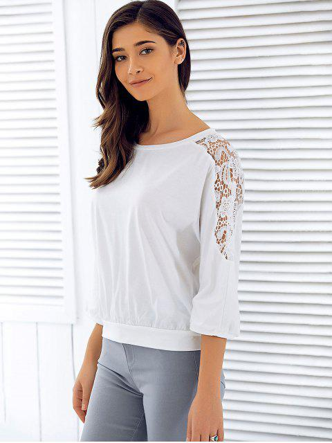 ladies 3/4 Sleeve Openwork Lace Spliced T-Shirt - WHITE L Mobile