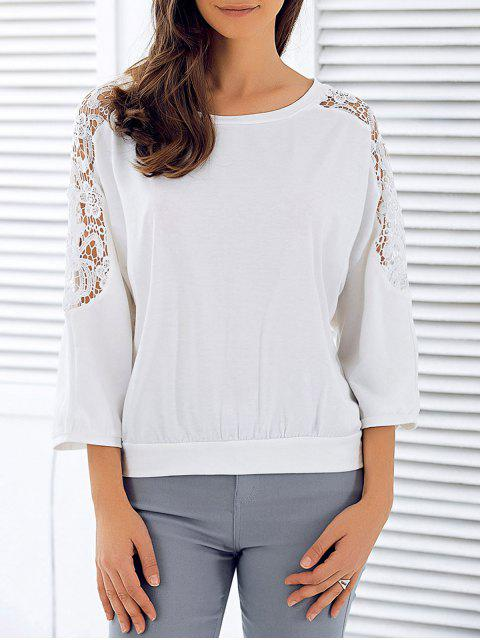 lady 3/4 Sleeve Openwork Lace Spliced T-Shirt - WHITE M Mobile