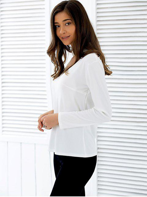 hot Stand Neck Long Sleeve Cutout T-Shirt - WHITE M Mobile