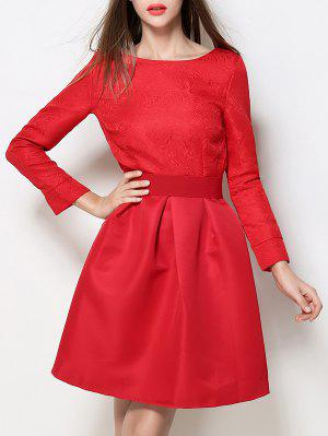 Boat Neck A Line Jacquard Dress - Red S