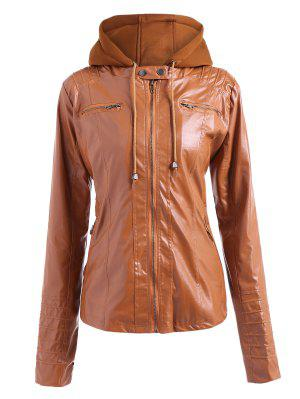 Convertible Collar PU Leather Bomber Jacket - Light Brown L
