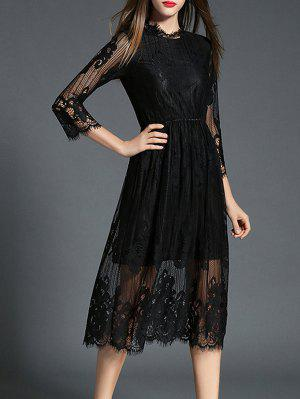 See-Through Ruff Collar Long Sleeve Lace Dress