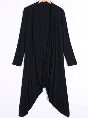 Long Sleeve Irregular Hem Long Cardigan - Black 2xl