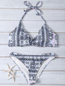Impreso Cabestro Bikini De Dos Piezas - Blanco L
