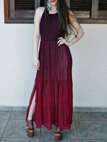 Halter Ombre Haute Maxi Dress Slit - Rouge S
