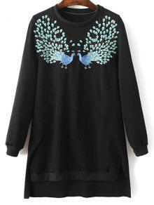 High Low Embroidered Sweatshirt - Black M