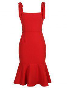 فستان ميرميد مربع الرقبة - أحمر 2xl