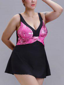 plus size v ausschnitt drucken badeanzug pink badeanz ge xl zaful. Black Bedroom Furniture Sets. Home Design Ideas