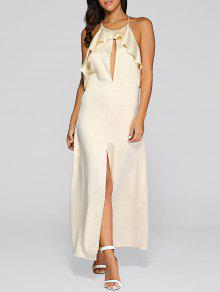 Open Back Slit Evening Dress - Golden L