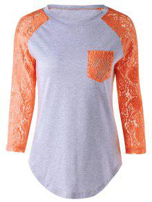 Lace Sleeve Round Neck T-Shirt - Orange 5xl