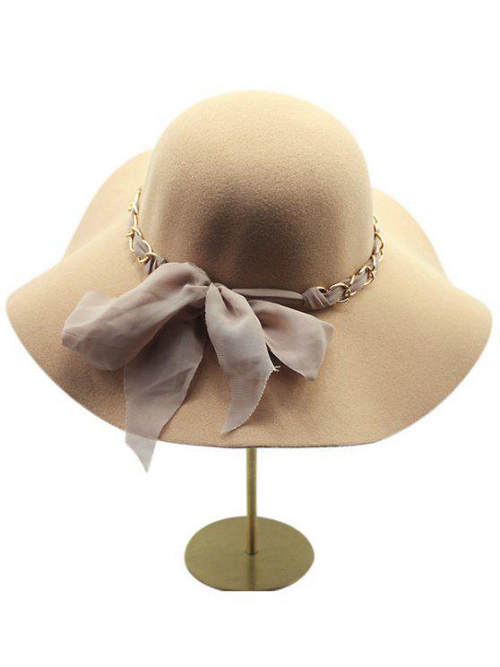 Gardez Laine chaud bowknot large Brim Fedora Hat - Kaki