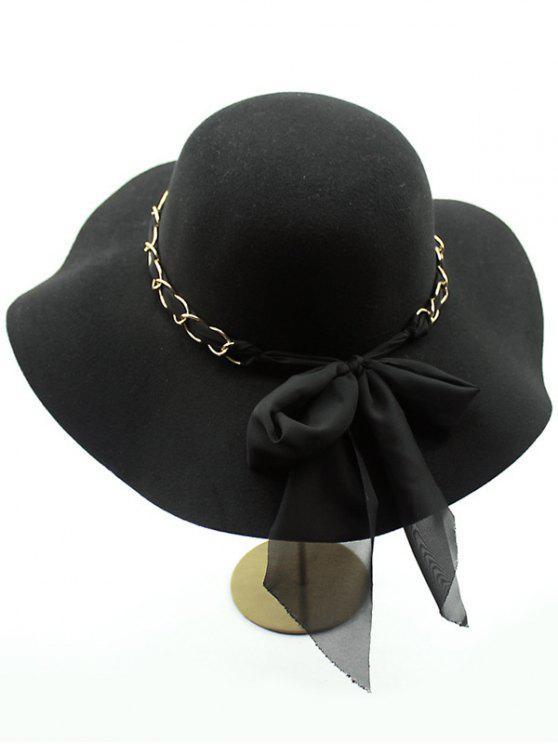 Mantenga lana caliente del Bowknot del borde ancho del sombrero de Fedora - Negro