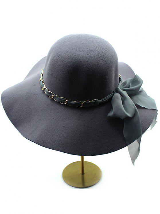 Mantenga lana caliente del Bowknot del borde ancho del sombrero de Fedora - Gris Oscuro