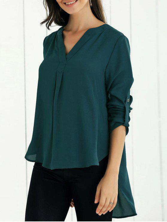 outfits High Low Chiffon Top - BLACKISH GREEN S