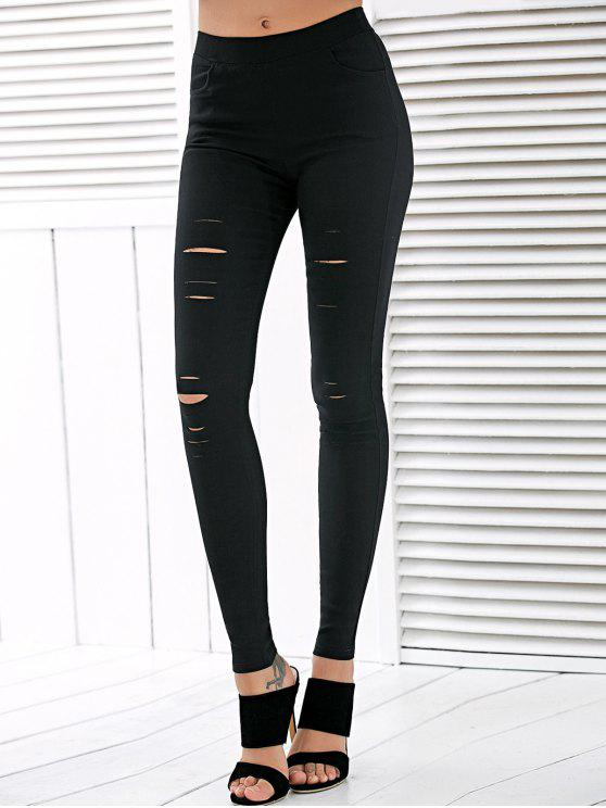 affordable High Waisted Ripped Leggings - BLACK 2XL