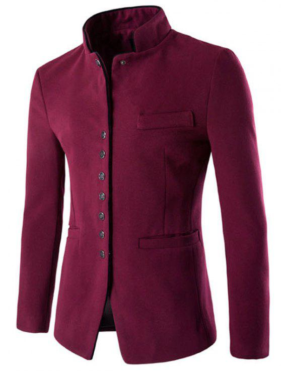 womens Stand Collar Single-Breasted Slimming Wool Blazer - WINE RED M