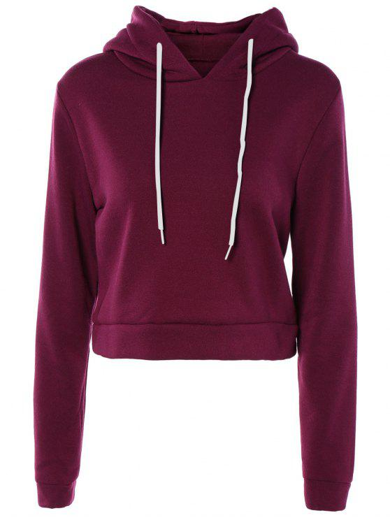 hot Cropped Pure Color Long Sleeve Hoodie - PURPLE XL