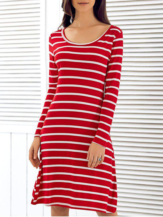 ladies Scoop Neck Long Sleeve Striped Dress - RED S