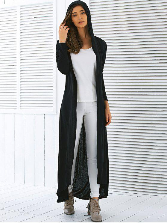 womens Hooded Maxi Long Duster Cardigan - BLACK S