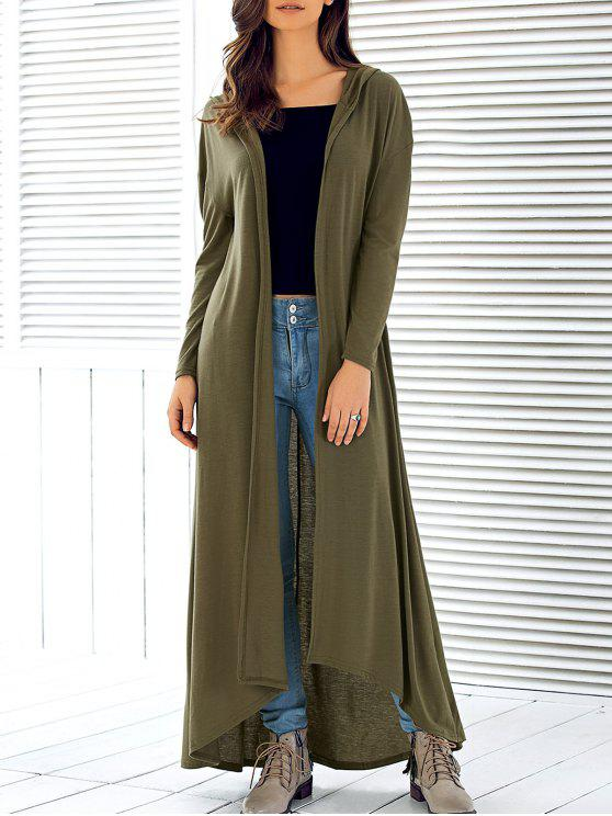 lady Hooded Maxi Long Duster Cardigan - ARMY GREEN S