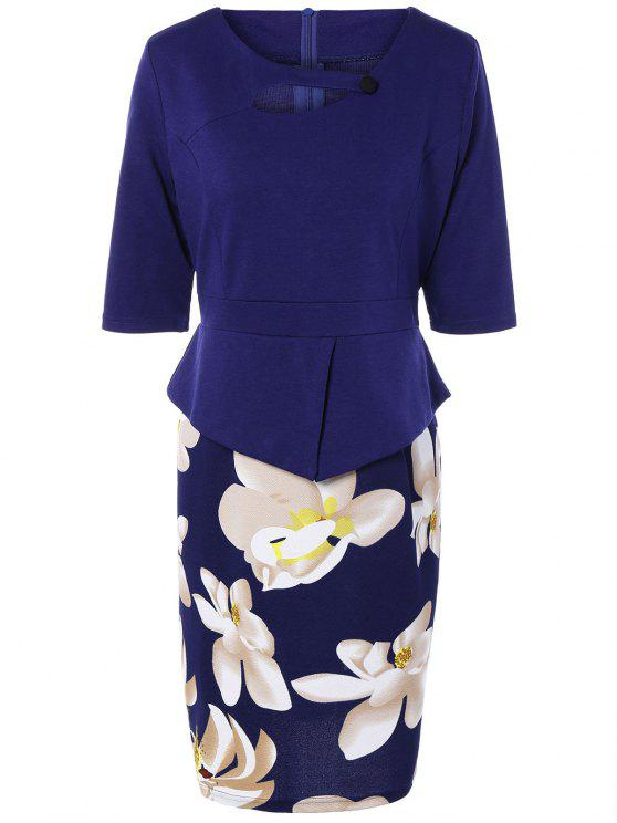 hot Half Sleeve Floral Print Spliced Sheath Dress - PURPLISH BLUE XL
