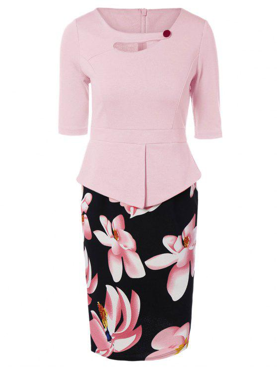 outfits Half Sleeve Floral Print Spliced Sheath Dress - PINK 4XL