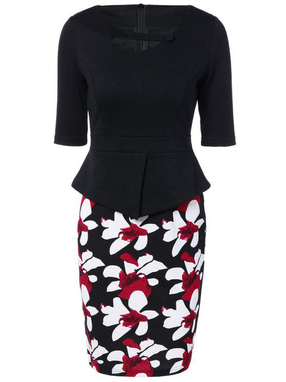 shops Half Sleeve Floral Print Spliced Sheath Dress - BLACK 3XL