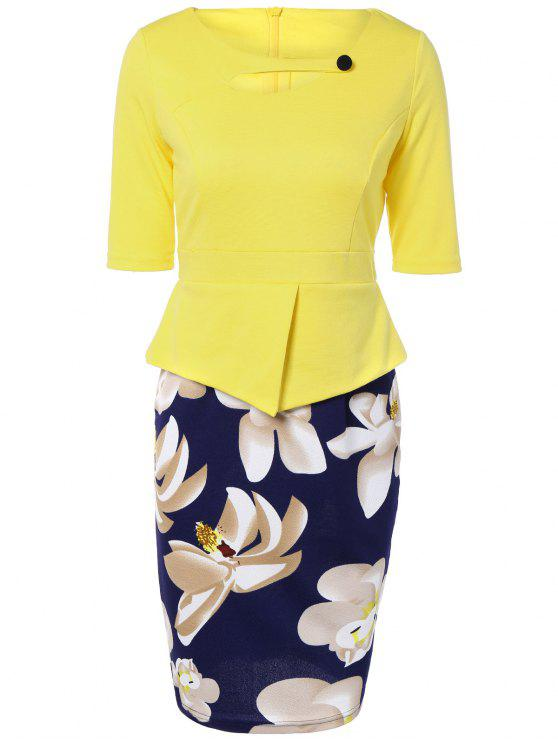 trendy Half Sleeve Floral Print Spliced Sheath Dress - YELLOW 2XL