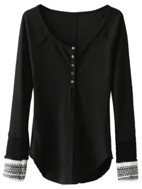 affordable Contrasting Cuffs Long Sleeve Top - BLACK S
