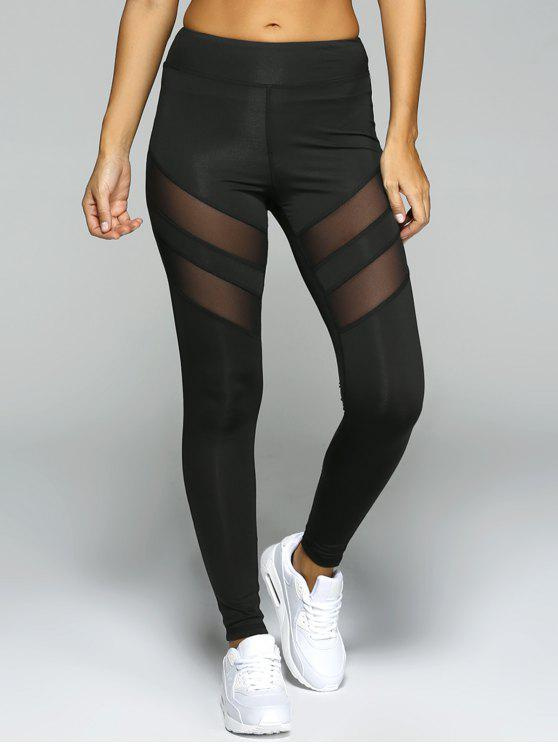 trendy See-Through Tight Sport Running Leggings - BLACK S