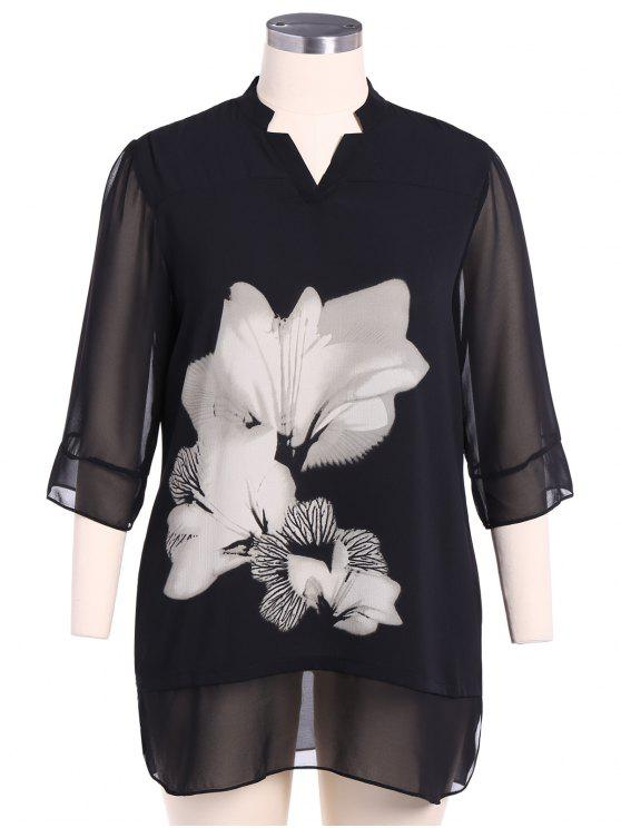 lady Stand Neck 3/4 Sleeve Floral Dress - WHITE AND BLACK 2XL