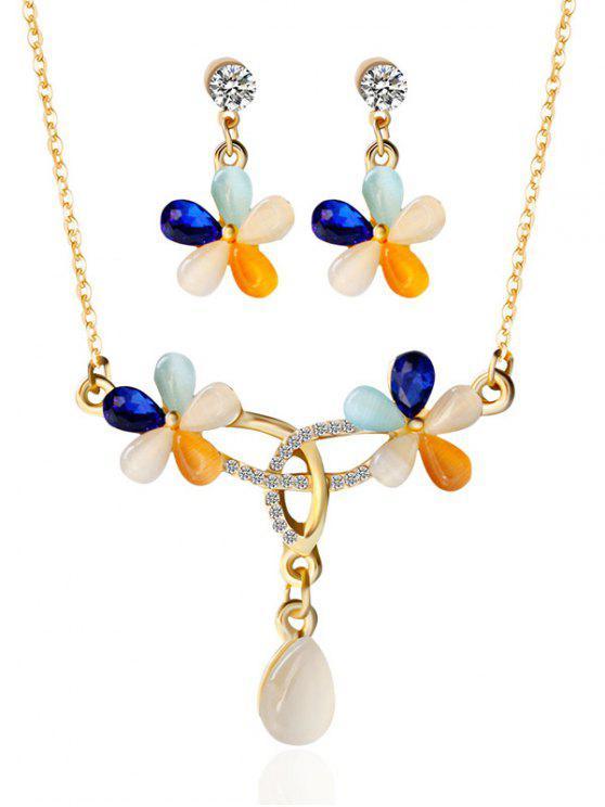 Sistema de la joyería del Rhinestone Faux Opal floral - Dorado