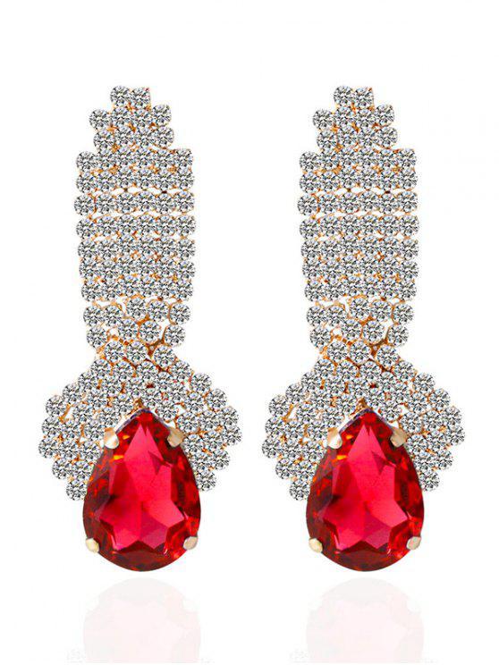 women's Rhinestoned Faux Crystal Drop Earrings - RED
