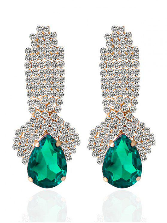best Rhinestoned Faux Crystal Drop Earrings - GREEN