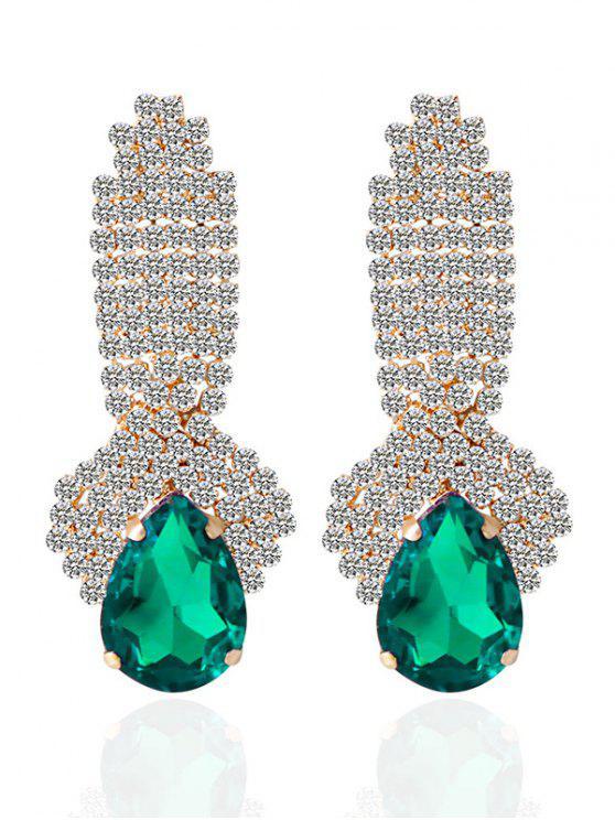 Pendientes de gota de agua falso diamante artificial de la gema - Verde