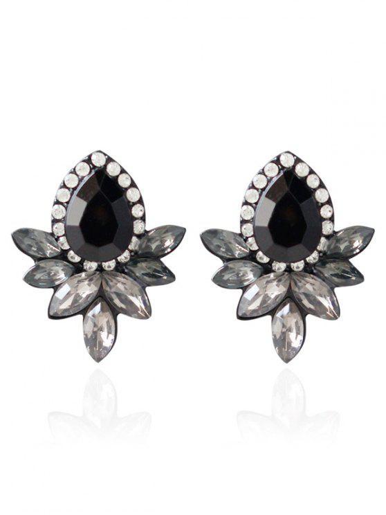 Boucles d'oreilles en cristal artificiel embelli goutte d'eau de bijoux faux - Noir