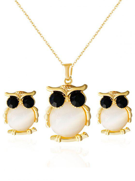latest Owl Shape Faux Opal Jewelry Set - GOLDEN