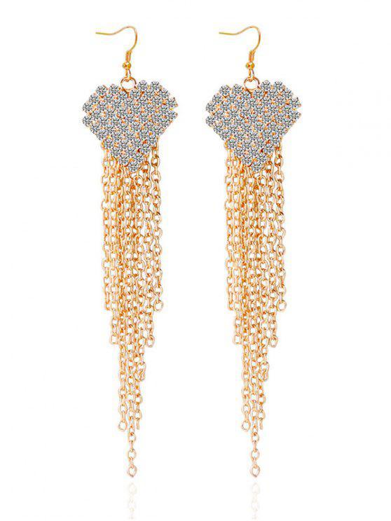 Boucles d'oreilles décorées des strass en forme de cœur avec franges en chaîne - Or